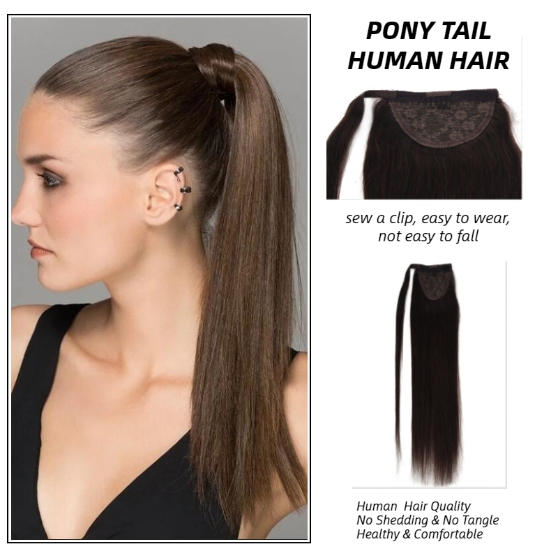 MW Natural Human Hair Ponytail Extensions 12/ 16 /20 Inches Straight Clip In Hair Piece Wrap Around Pony Tail For Women
