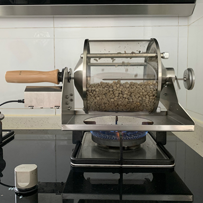 110V/220V Small Household Fuel Gas Coffee Beans Baking Machine Direct Fire Roaster 400G Capacity Glass Transparent Visualization 6