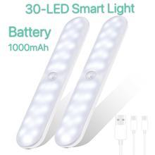30 Светодиодная подсветка под шкаф движения PIR Сенсор настольная лампа USB Перезаряжаемые Плавная тусклая шкаф Лестницы Магнитный ночник