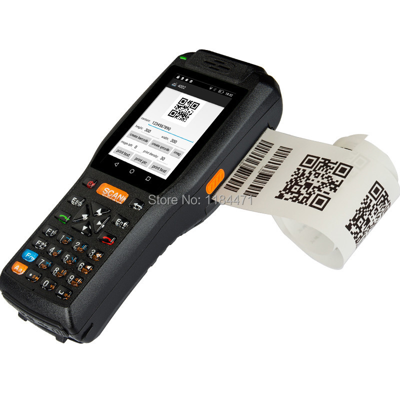 4G Android 13.56HZ Handheld RFID Reader 2D Image QR Barcode Scanner Industry Handheld Terminal With Printer(2D Version)