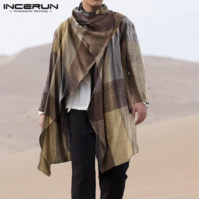 INCERUN Men Coats Turtleneck Plaid Cotton Long Sleeve Trench Ponchos Vintage Streetwear 2021 Casual Irregular Outerwear Cloak