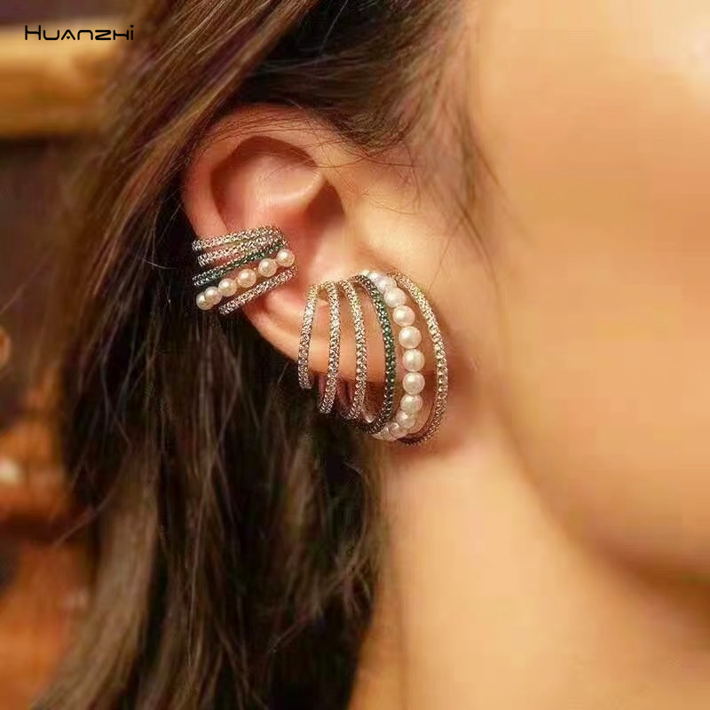 HUANZHI 2019 Korea Metal Geometric Irregular Rhinestone Pearl Multiple Circles Clip Earrings For Woman Girl Party Accessories