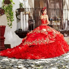 Red Ball Gown Quinceanera Dresses 2020 Sweetheart Beaded Cascading Ruffles Gold Beads Sweet 16 Dress quinceanera robes tanie tanio singkarak Polyester Acrylic Floor-Length Sleeveless Appliques Beading CRYSTAL Sequined Satin