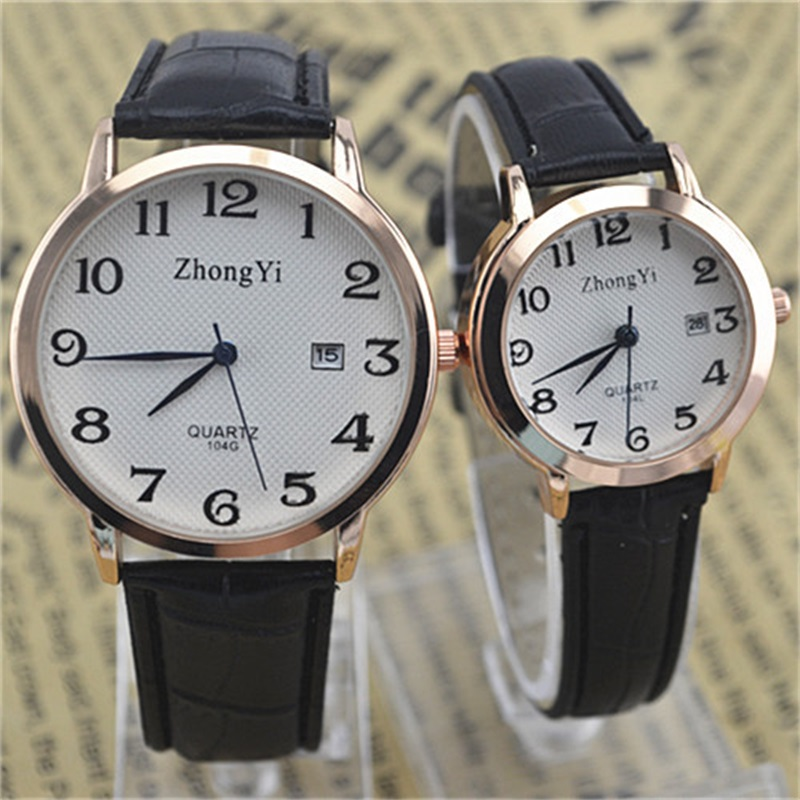 Couple Watch Quartz Women Men Watch Luxury Leather Strap Wrist Watch Date Display Dress Watches Relogio Masculino Ladies Watch