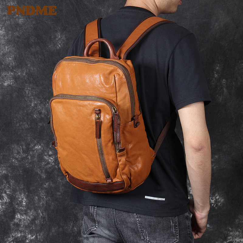 PNDME high quality <font><b>genuine</b></font> <font><b>leather</b></font> men's women's <font><b>backpack</b></font> casual vintage soft cowhide designer luxury travel laptop bagpack image