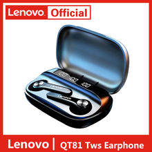 Mais novo lenovo versão inglês bluetooth 5.0 fone de ouvido sem fio estéreo som fone com microfone redução ruído 1200mah caixa carregamento