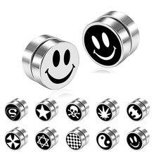Oly2u brincos falsos magnéticos redondos, brincos com fecho e sem piercing para homens, acessórios de joia para namorado