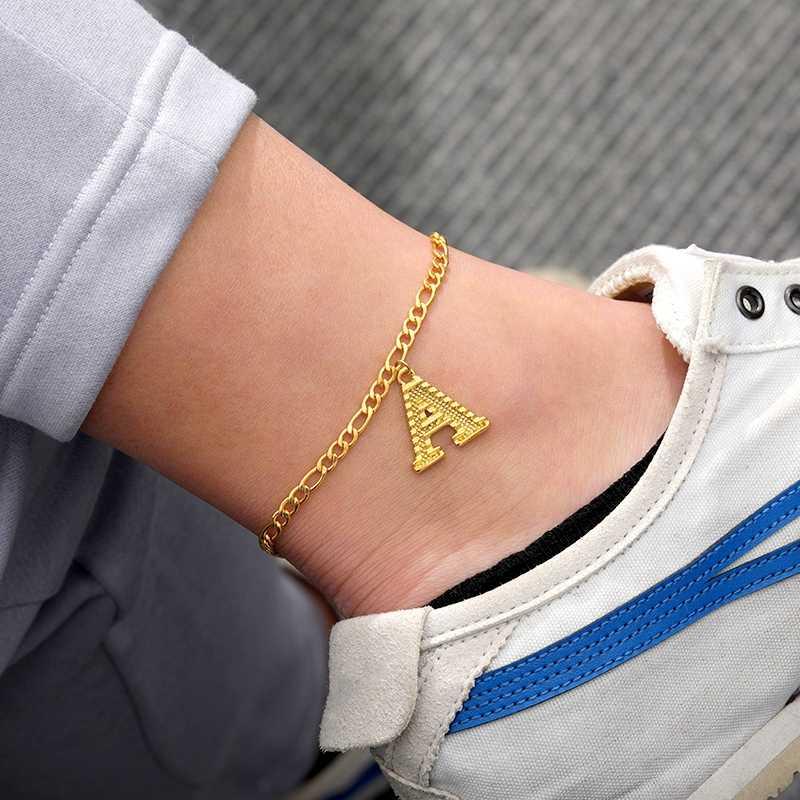 Dainty A-Z จดหมายเริ่มต้น Anklets สำหรับผู้หญิงรองเท้าแตะรองเท้าเครื่องประดับ Figaro CHAIN ตัวอักษรข้อเท้าสร้อยข้อมือขาอุปกรณ์เสริม BFF
