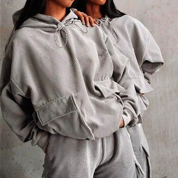 Conjunto de dos piezas con capucha y bolsillos de pana para mujer, novedad de 2020, suéter suelto de otoño e invierno, conjuntos de traje holgado informal para mujer