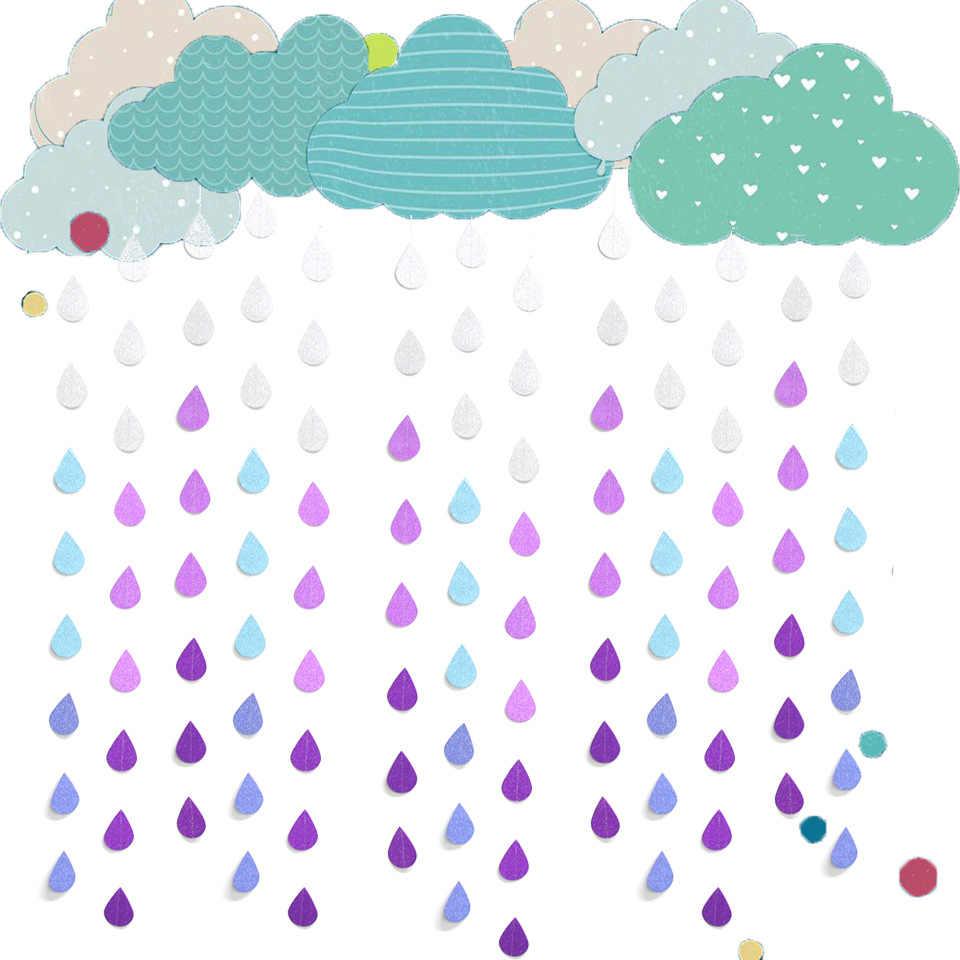 1 шт. капли дождя строка баннеры стримеры капли воды Бумага гирлянды Baby Shower поставки День рождения DIY украшения для дома