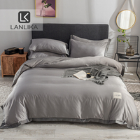 Lanlika 100% Silk Luxury Bedding Set Gray Comforter Cover Flat Sheet Double Queen Adult Bed Linen Euro Set 4pcs Home Textiles