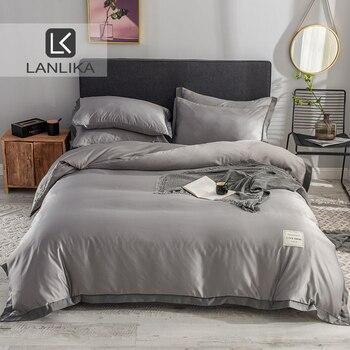 ParkShin 100% Шелковый роскошный комплект постельного белья серый пододеяльник плоский лист двойной Королева Взрослый комплект постельного бел