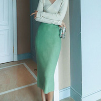 Candy Color High Waist Korean Jupe Crayon Femme 2019 Soft Back Slit Stretch Midi Length Autumn Sexy Women Knitted Office Skirts