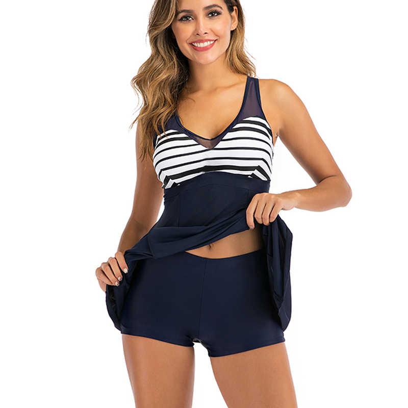 2020 neue Tankini Plus größe Blau Zwei stück Bademode frauen Badeanzug Badeanzug Striped Print Patchwork Rock Schwimmen Anzug 5XL