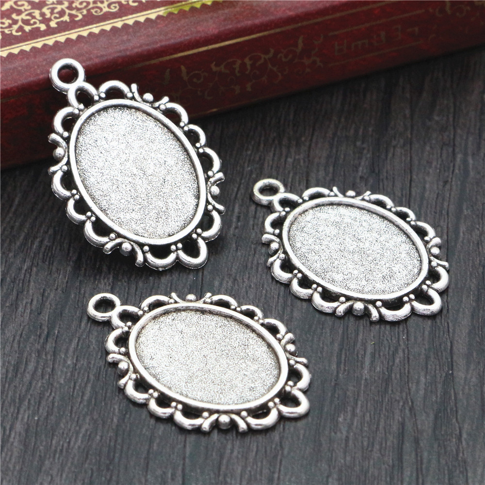 8pcs 13x18mm Inner Size Antique Silver Plated Simple Style Cameo Cabochon Base Setting Charms Pendant Necklace Findings  (D4-21)