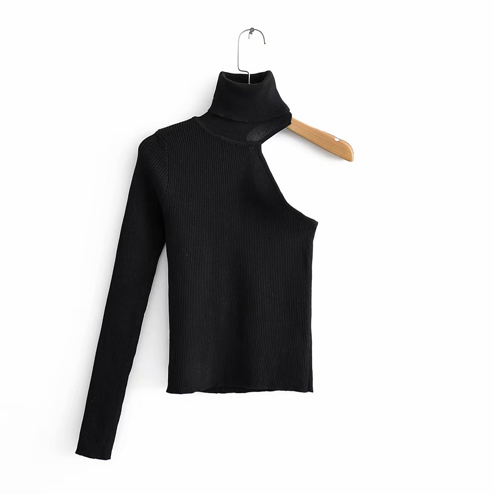Women Fashion One Shoulder Turtleneck Asymmetric Sweater Ladies Basic Knitted Casual Slim High Street Sweaters Chic Tops S136