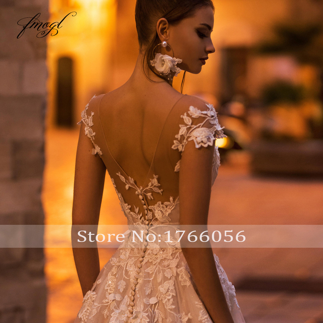 Fmogl Sexy Backless Cap Sleeve Lace Princess Wedding Dress 2021 Appliques Beaded Flowers Court Train Vintage A Line Bridal Gowns 5