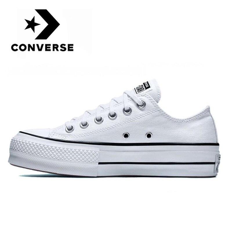 Original Converse Chuck Taylor All Star plate-forme bas hommes et femmes unisexe skateboard baskets blanc classique toile chaussures