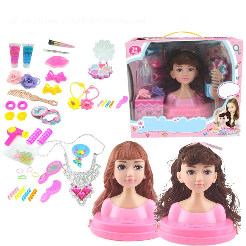 Dolls Hair Styling Head Hairdressing Play Hair Accessories Childs Beauty Toy D