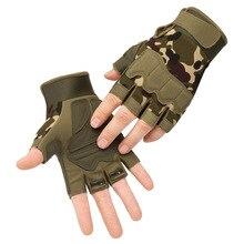Тактические перчатки без пальцев военные Мультикам камуфляжные уличные противоскользящие CS боевые стрельбы Пейнтбол страйкбол армейские ...