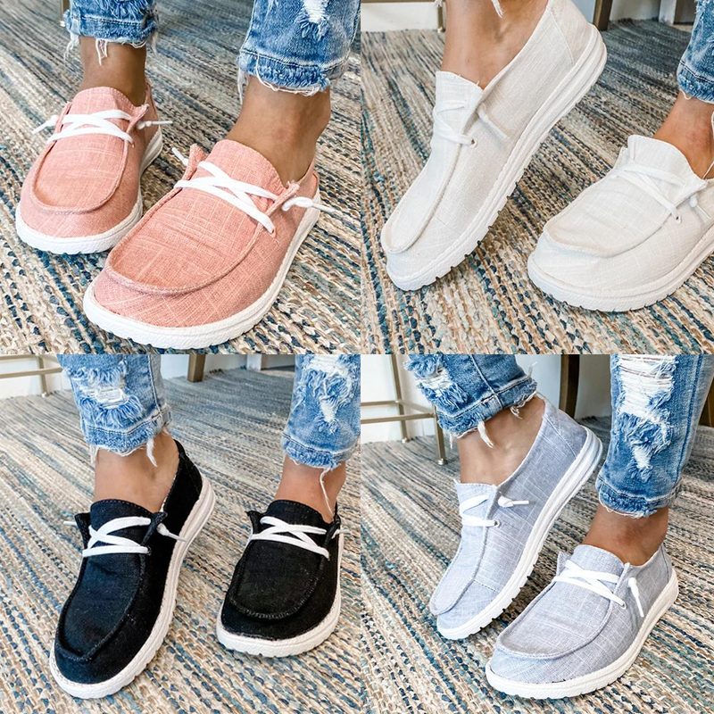 2021 New Women Shoes Sneakers Canvas Flats Large Size Women Fashion Vulcanize Shoes Summer Flats Mujer Zapatill Casual Shoes