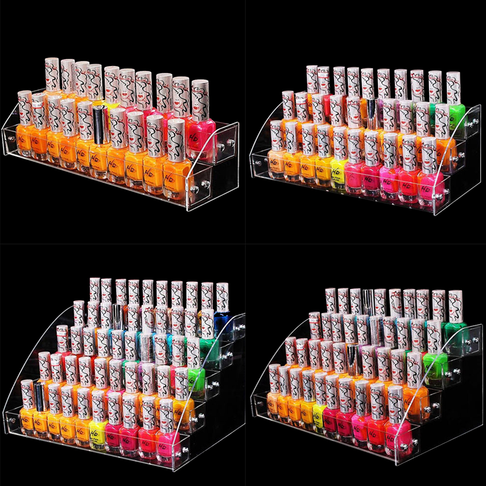 Empty Multi-layer Acrylic Clear Nail Polish Display Rack Cosmetic Varnish Organizer Stand Holder Manicure Tool Storage Box