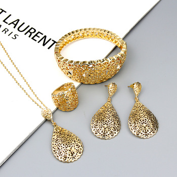 Sunspicems 2020 cor do ouro metal árabe conjunto de jóias oco pulseira brinco colar anel casamento bijoux argélia dubai nupcial presentes 1