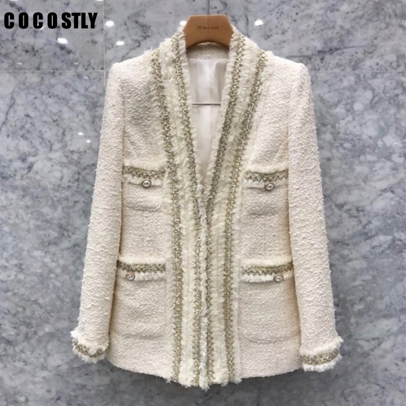 New Korean Vintage Chic Tweed Blazers Women Fashion V-neck Long Sleeve Pockets Suit Jacket Ladies Outerwear Casaco Femme