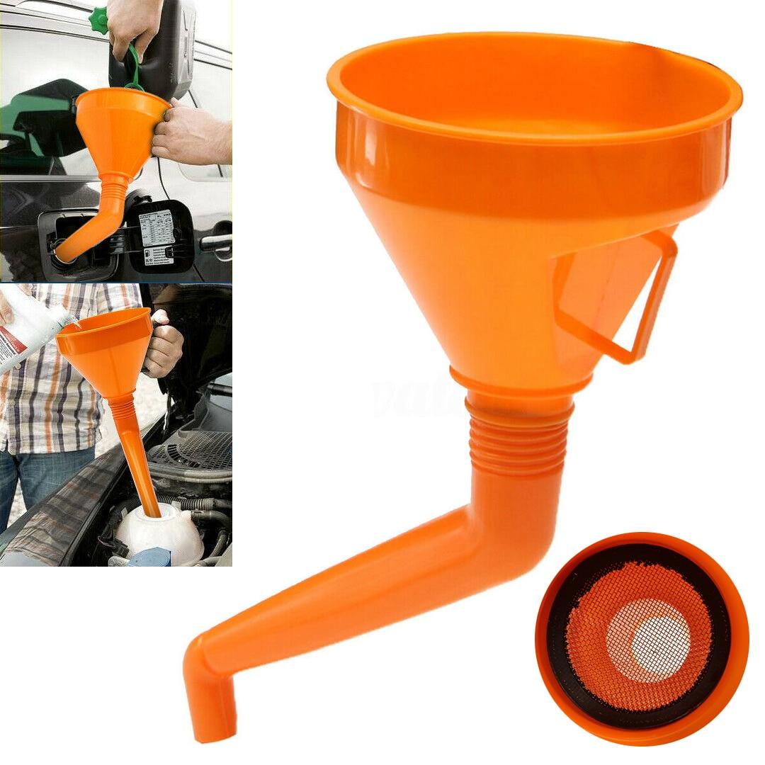 1pc Plastic Funnel For Oil Water Fuel Petrol Diesel Gasoline Arrive Car Auto Parts Accessories Orange