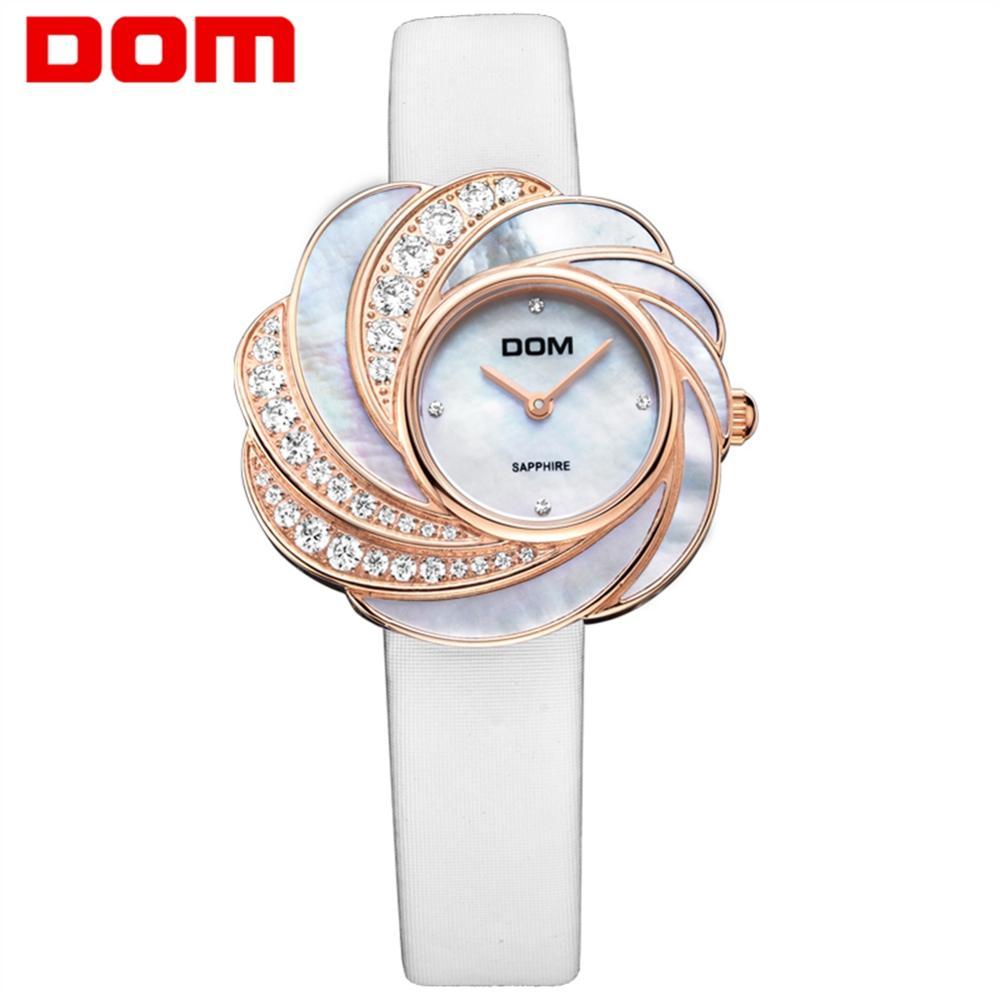 DOM Brand Luxury Women Quartz Watches Fashion Women Dress Wristwatch Ladies Luxury Quartz Watch Leather Strap Watch G-655