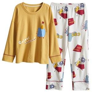 Image 1 - PLUS ขนาด 4XL หลวมบ้านเสื้อผ้าฤดูใบไม้ร่วงฤดูใบไม้ผลิใหม่ชุดนอนผ้าฝ้าย 100% คุณภาพสูงผู้หญิงชุดนอนชุดเสื้อผ้า