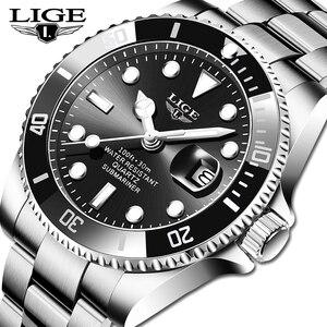 LIGE Top Brand Luxury Fashion Diver Watch Man 30ATM Waterproof Date Clock Sport Watches For Men Wristwatch Relogio Masculino+Box