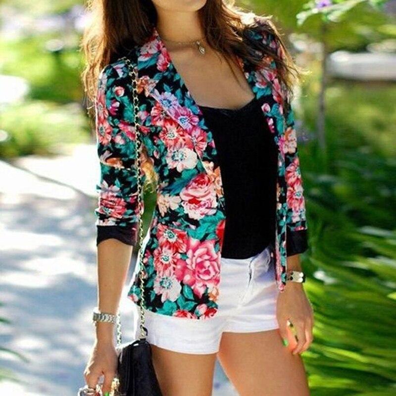 Women Flower Printed Business Suits Coat Slim Fit Lapel Collar Short Blazers Casual Outwear