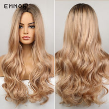Emmor Long Wavy Ombre Brown to Blonde Wigs Wave Synthetic Wig for Women Natural Middle Part Heat Resistant Hair Cosplay Wigs