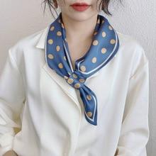 Retro Print Polka Dot Love Heart Scarf New Handkerchief Silk Satin Neck Scarves Ladies Fashion Small Square Scarf Gift Wholesale
