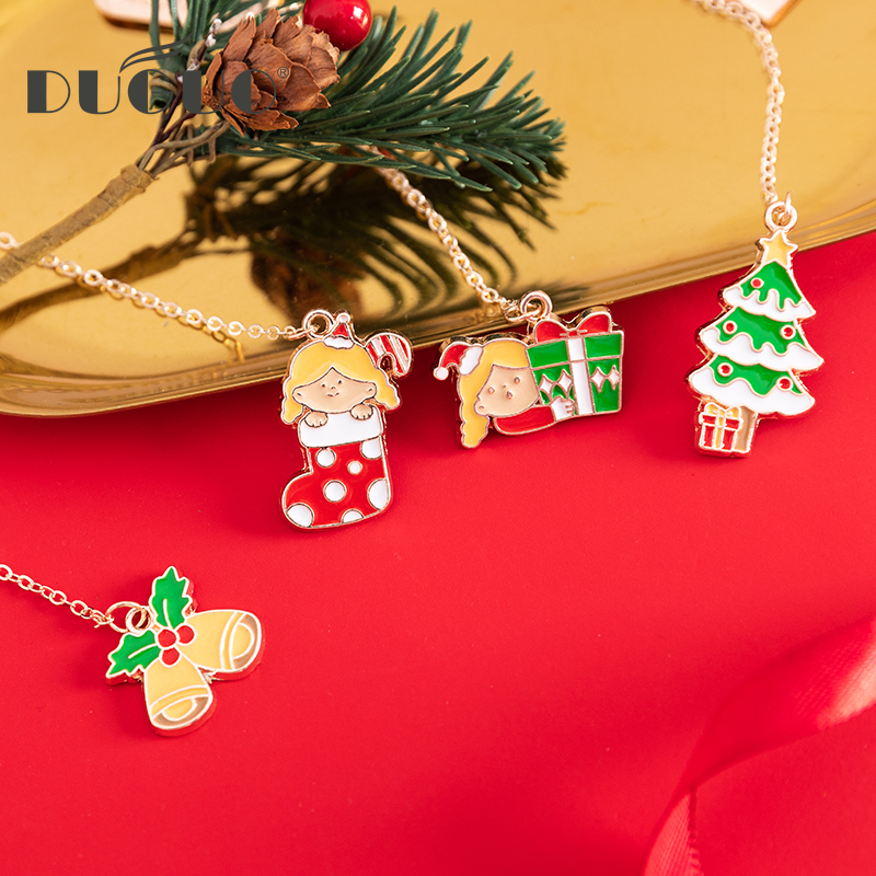 DUGUO Cute Stationery Creative Christmas Series Metal Page Book Book Paging Pendant Office Information Mark Bookmark