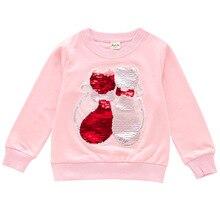 Футболки с длинными рукавами для девочек; осенние детские топы с рисунком кота; Детские рубашки с блестками для девочек; розовые детские футболки; Модная одежда для девочек