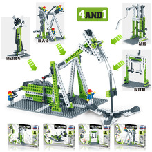 цены 1000 Gear Technology Building Blocks Ferris Wheel Merry-go-round Children's Intelligence Creative Machinery Assembled Toys
