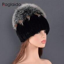 Chapeau en fourrure de vison de haute qualité, naturel, bonnet de luxe, gros pompon en fourrure de renard, bonnet à boule, hiver pour femmes
