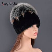 high quality Mink Fur hat for women natural Mink Fur Hats with Luxury Big Pompom Fox Fur Ball Beanies winter women's cap lady go