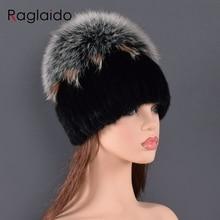 high quality Mink Fur hat for women natural Mink Fur Hats with Luxury Big Pompom Fox Fur Ball Beanie