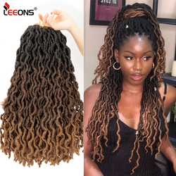 Leeons Faux Locs Crochet Hair 12/18Inch Ombre Bohemian Gypsy Hair Extension Crochet Braid Natural Soft Synthetic Locs Brown Hair
