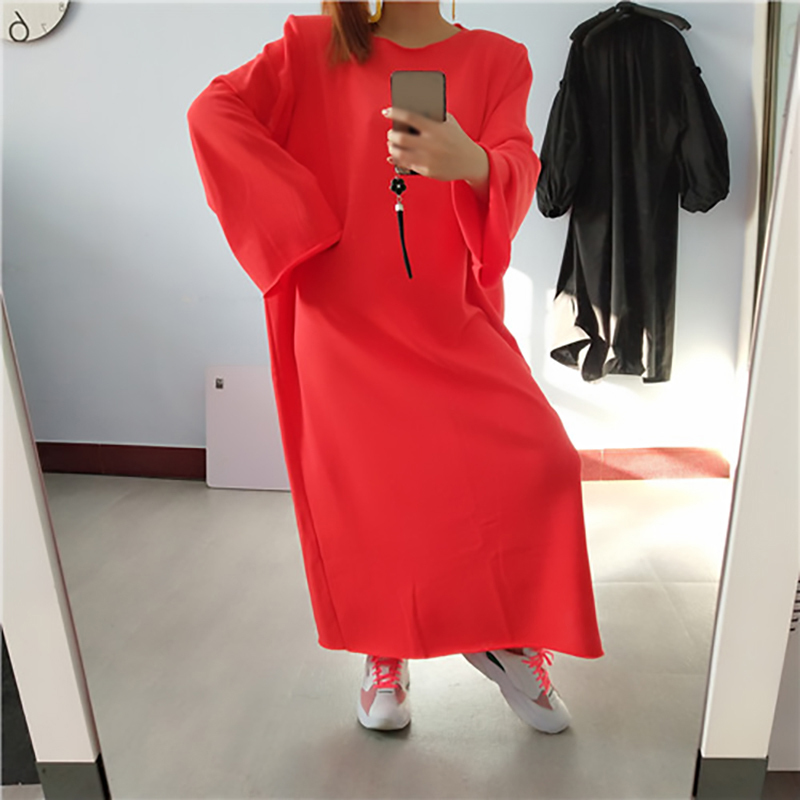 [EAM] Women Multicolor Big Size Sweatshirt Dress New Round Neck Long Sleeve Loose Fit Fashion Tide Spring Autumn 2020 1R199