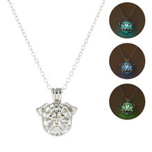 3 Colors Fashion Necklace Punk Dog Head Luminous Pendant Hollow Glow In The Dark Stone Jewelry for Women Men