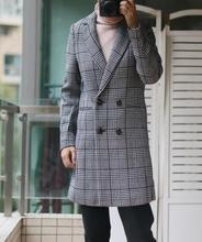 Женское пальто, осенне зимнее двубортное шерстяное длинное пальто в клетку, Женская Шерсть и смеси, 2019