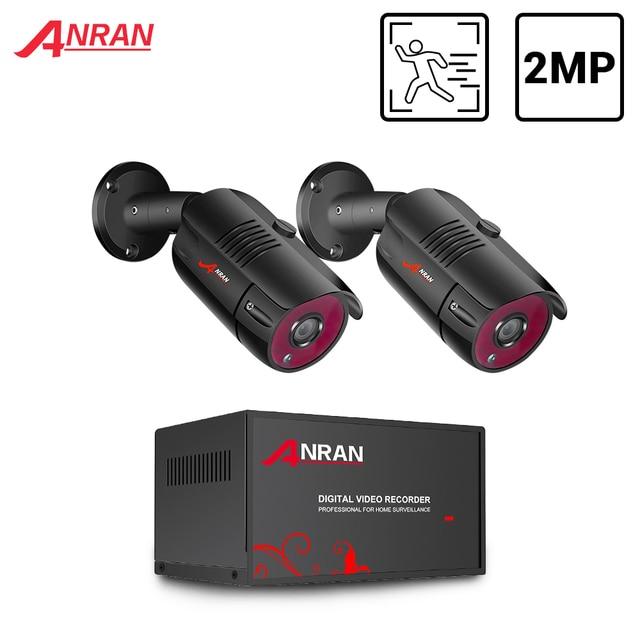 Anran cctv sistema de câmera 2ch 1080 p ahd kit câmera h.265 dvr sistema de vigilância de vídeo à prova dwaterproof água ao ar livre ip kit câmera de segurança