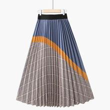 2021 cintura alta xadrez plissado saias femininas impressão gradiente patcwork retro vintage escritório senhoras midi saia verão faldas mujer