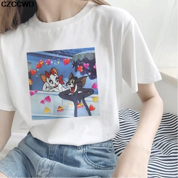 Cat Tom's Sweet Love Cartoon Funny Print Women T-shirt Harajuku O-neck Summer New Short-sleeved T Shirt Ulzzang Cute Top Tshirt