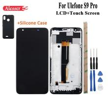 Ulefone s9 pro 용 alesser 프레임 + ulefone s9 pro 용 도구가있는 실리콘 케이스 수리 부품이있는 lcd 디스플레이 및 터치 스크린