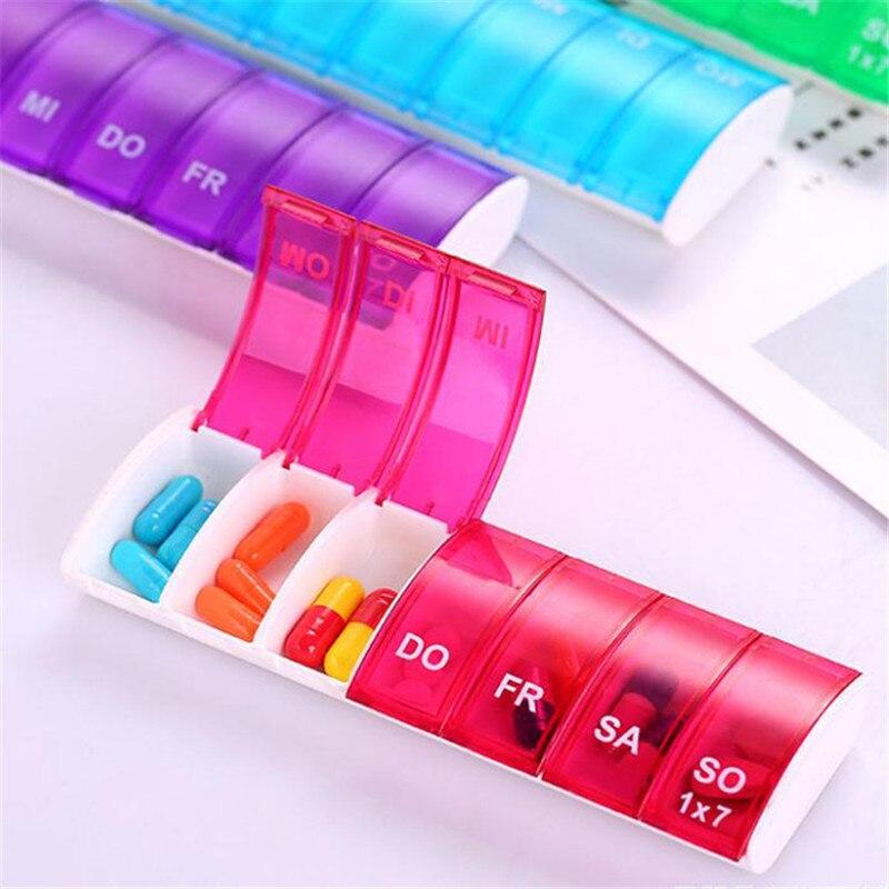 1PC Splitter Lagerung Spender Wöchentlich 7 Tage Pille Fall Medizin Lagerung Tablet Pille Halter Medizin Veranstalter Pill Box Hot verkauf